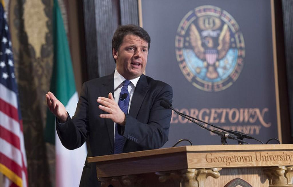 Il premier Matteo Renzi alla Georgetown University (Fonte: Palazzo Chigi)