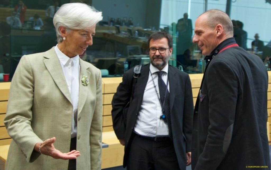 La direttrice del Fmi Lagarde e il ministro delle Finanze ellenico Varoufakis all'Eurogruppo - foto Consiglio Ue