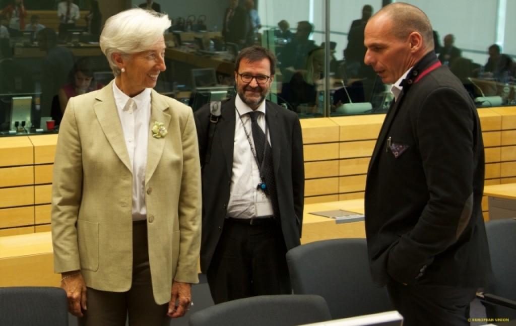La direttrice del Fmi, Lagarde, e il ministro delle Finanze greco, Varoufakis, all'Eurogruppo