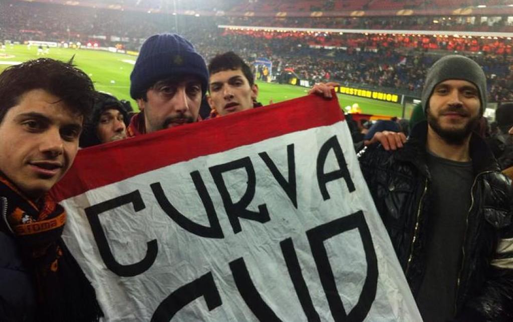 Tifosi del Roma Club Bruxelles - Curva Sud a Rotterdam
