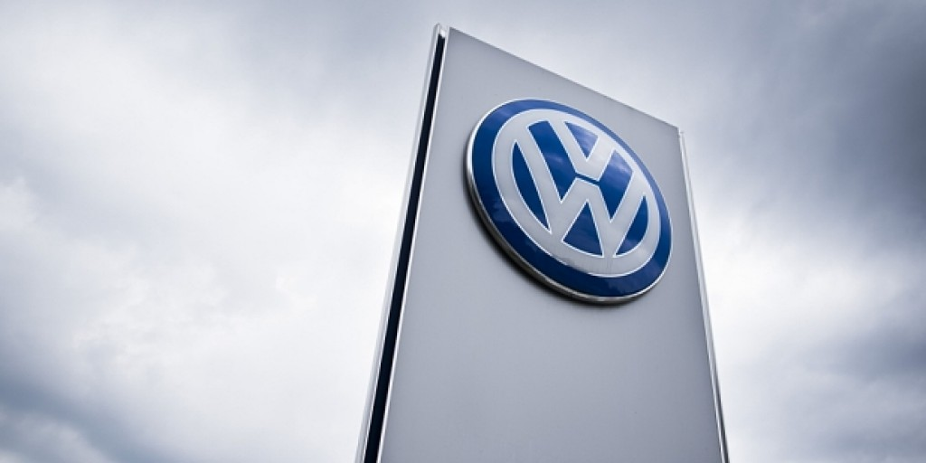 The Volkswagen logo is seen at a Volkswa