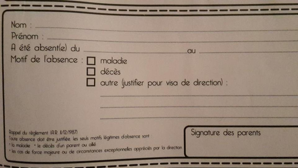 Belgio, scuola, giustificazione