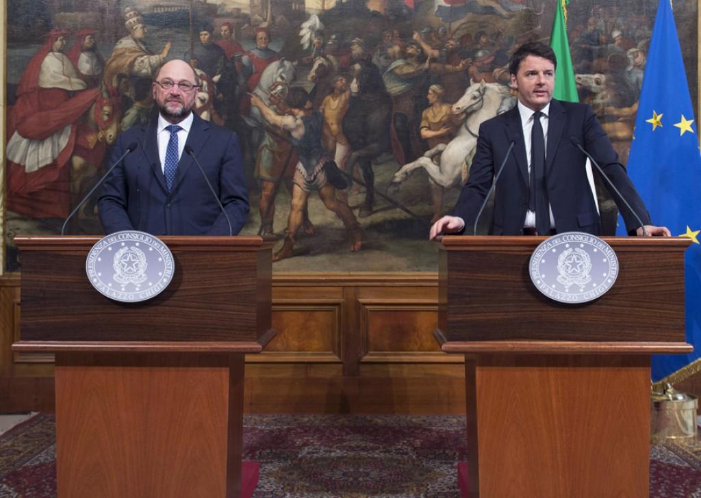 Il presidente del Parlamento europeo, Martin Schulz, e il premier Matteo Renzi (Foto: Barchielli, Palazzo Chigi)