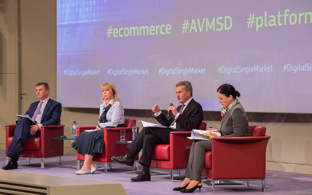 I commissari Andrus Ansip, Elżbieta Bieńkowska, Günther Oettinger e Vĕra Jourová