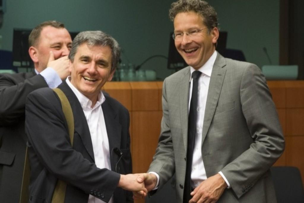 Tsakalotos e Dijsselbloem all'Eurogruppo - foto Consiglio Ue