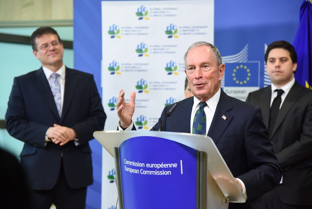 Maroš Šefčovič, Michael Bloomberg e Patrick Klugman