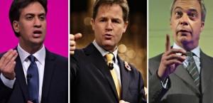 Ed Miliband, Nick Clegg e Nigel Farage