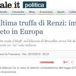 Il Giornale, renzi, Brunetta, veto, truffa, bilancio ue