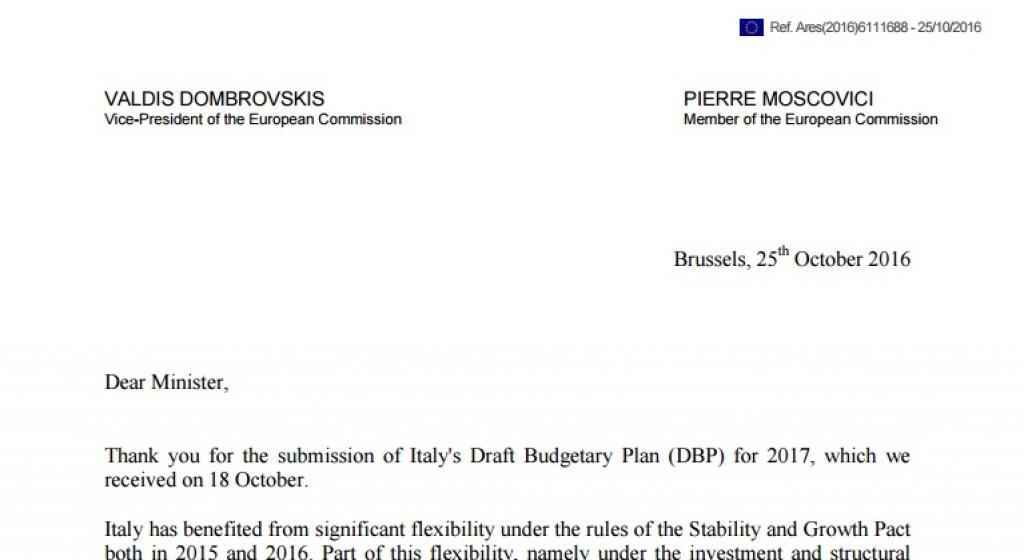 lettera Commissione europea manovra padoan
