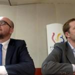 Il premier belga Charles Michel con il presidente della Vallonia Paul Magnette