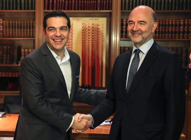 Tsipras e Moscovici - foto Commissione europea